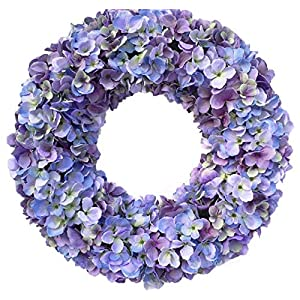 Wreaths For Door Cape Cod Blues Hydrangea Spring Wreath Year Round 20 Inch Wreath for Everyday Decorating Hang On Protected Front Door Indoor Wreath Shades of Blue and Purples Fits Between Storm Door 53