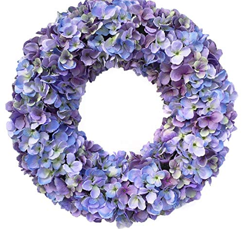 Wreaths For Door Cape Cod Blues Hydrangea Spring Wreath Year Round 20 Inch Wreath for Everyday Decorating Hang On Protected Front Door Indoor Wreath Shades of Blue and Purples Fits - Hydrangea Wreath
