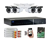 Cheap GW Security 1080P HD-AHD 4 Channel Video Security Camera System – Four 2.1 MP Sony Cmos Weatherproof Bullet Cameras, 100ft IR LED Night Vision, Realtime Recording 1080p @ 30fps, Pre-Installed 1TB HDD