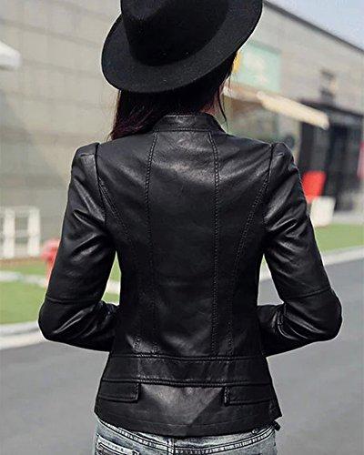 Slim Femme Court Manteau PU Cuir Veste vvY01xq