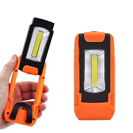 Battery Powered Portable 3W COB LED Pocket Work Light Magnetic Torch Light  Inspection Lamp with Hanging Ring and Pocket Clip, Rotatable Handle with