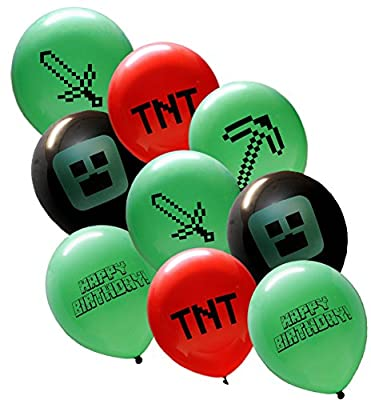 """25 Pixel Style Miner Party Balloon Pack - Large 12"""" Latex Balloons"""