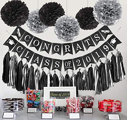 Graduation Party Decorations 2019 Congrats Class of 2019 Banner Tissue Pom Poms Black Silver Tissue Tassel Paper Triangle Garland for College Grad Party and High School Graduation Party Supplies 2019]()