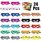 PANTIDE 24Pcs DIY Superhero Masks,Multicolored Superhero Party Supplies, Felt and Elastic Cosplay Party Favors with 4 Sheets Superhero Stickers for Kids Boys Girls