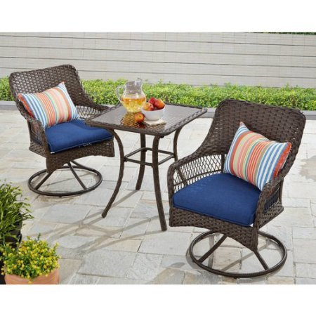 Better Homes and Gardens Colebrook 3-Piece Outdoor Bistro Set, Seats 2 (Blue) (Better Home And Gardens Furniture Patio)