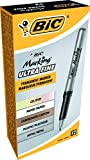 BIC Marking Permanent Marker, Fine Point, Black, 12-Count