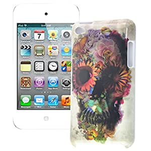 MagicSky Flower Skull Pattern Hard Skin Case Cover for Apple iPod Touch 4 - 1 Pack - Retail Packaging