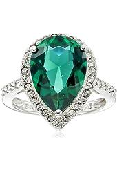 Sterling Silver Swarovski Crystal Pear Ring