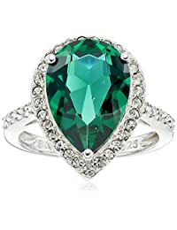 Sterling Silver Swarovski Clear Crystal Pear Ring