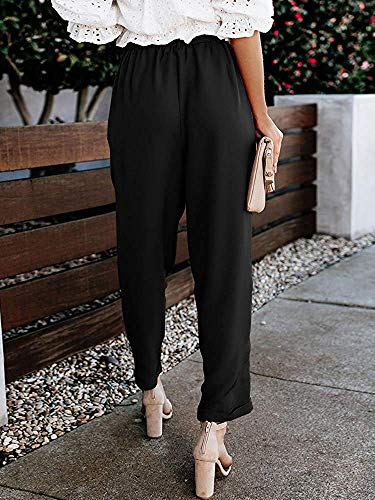 BABEIYXM Women's Casual Paper Bag Pants Elastic High Waist Slim with Pockets Soft Trouser,Black,XL