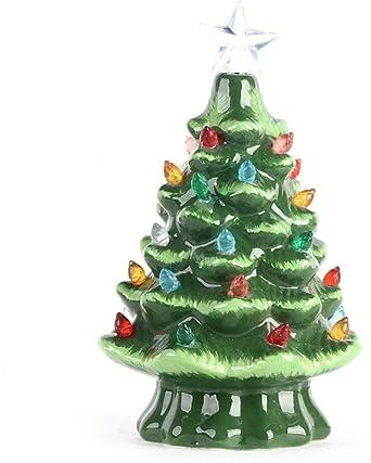 VKTY Árbol de Navidad de cerámica de mesa, 8 pulgadas de mesa árbol de Navidad iluminado árbol de Navidad con luces multicolor y estrella superior, ‣, Verde, 8 pulgadas: Amazon.es: Iluminación
