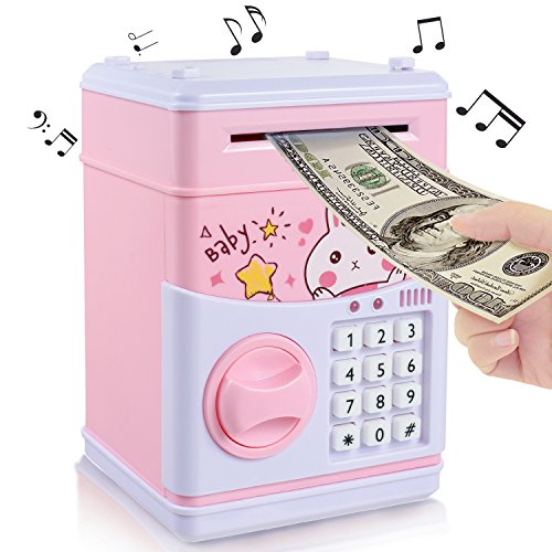 (New Kids Cartoon Electronic Money Bank,Yoego Security Piggy Bank Mini ATM Password Coins Money Savings Box Toys Smart Voice & Music Prompt,Code Lock for Children/Toy Gifts Birthday Gift (Pink rabbit))