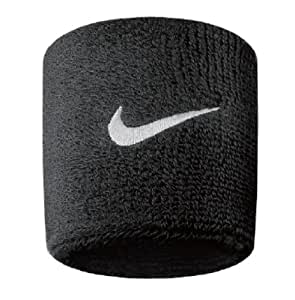 Nike Swoosh Wristbands, Mens Womens Unisex-Adult, N.NN.04.010.OS, Black/White, One Size