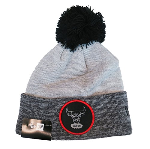 New Era NBA Chicago Bulls Men's Pom Beanie in Heather and Black by New Era