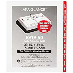 AT-A-GLANCE Daily Desk Calendar 2016 Refill, Compact, 12 Months, 3 x 3.75 Inch Page Size (E91950)