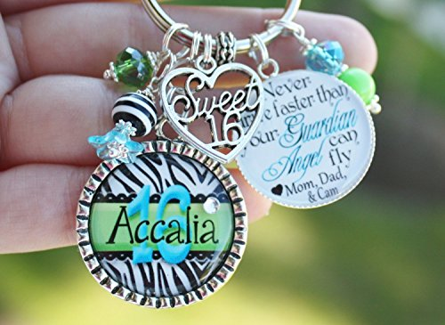 Personalized Custom Zebra Print Sweet 16 Sixteen Name Key Chain Never Driver Faster Than your Guardian Angel Can Fly Lime Turquoise Your Color Choice