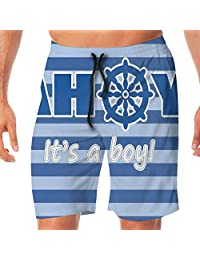 Haixia Mens Fahsion Swim Short Ahoy Its A Boy Baby Shower New Birth Announceme