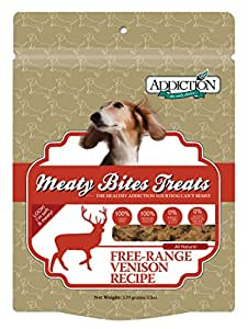 Addiction Venison Meaty Bites Grain Free Dog Treats, 12 oz.