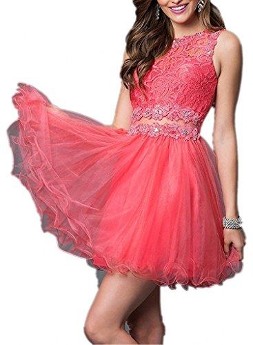 Mini Tanzenkleider La Braut Abschlussballkleider Abendkleider Kurzes Promkleider Wassermelon mia Cocktailkleider Spitze gxUqt