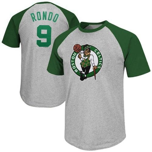 Ash Youth Football - NBA Rajon Rondo Boston Celtics Youth Raglan Player T-Shirt - Ash (Large)