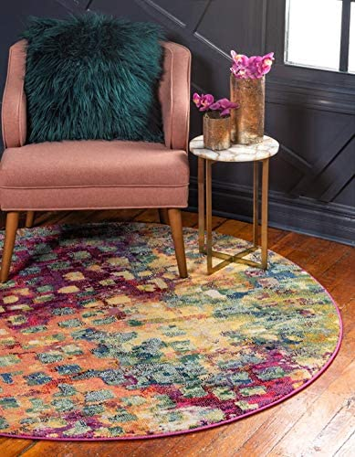 Unique Loom Jardin Collection Colorful Abstract Multi Round Rug 6 0 x 6 0