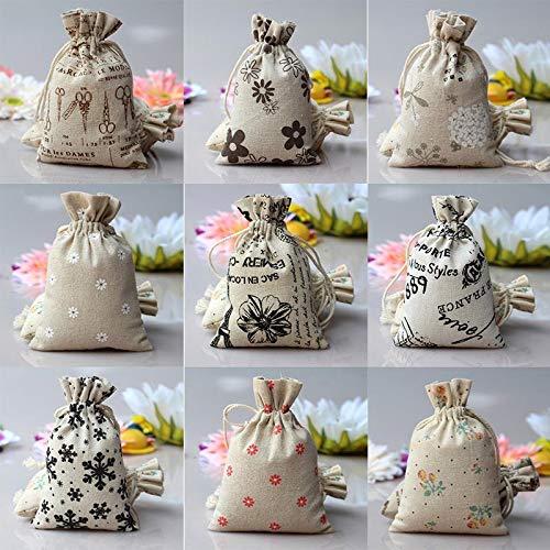 Bags Wrapping Supplies - Fashion Drawstring Pouch Sack Mini Burlap Jute Cartoon Print Wedding Favor Gift Bag Random - Hessian Favor Bag Mini Sticker Sack Fabric Compress Burlap Burlap -
