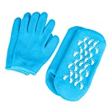 Gel Moisturizing Spa Gloves and Socks, Soft Cotton Exfoliating Mitten with Thermoplastic Gel Lining Infused with Essential Oils & Vitamins, Repair Heal Eczema Cracked Dry Skin, Large Size for Women and Men