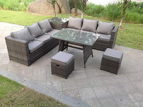 Fimous 8 Seater Grey Rattan Corner Sofa Dining Set