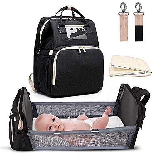 Techhub (Black) 5-in-1 Travel Bassinet Backpack with Foldable Portable Baby Bed, Diaper Changing Station for Baby Girls or Boys & Infant Travel Crib (Baby Nest with Mattress Included)