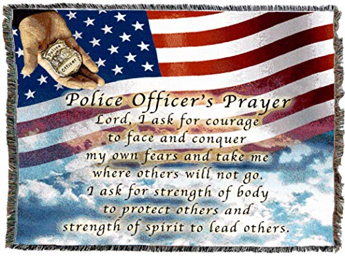 (Pure Country Weavers | Police Officers Prayer Woven Tapestry Throw Blanket with Fringe Cotton USA 72x54)
