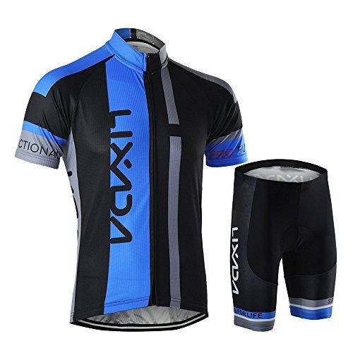 Lixada Men s Cycling Jersey Set Breathable Quick-Dry Short Sleeve Biking  Shirt with 12D Padded Shorts MTB Road Bike Cycling Clothing Set 9d19c66d9