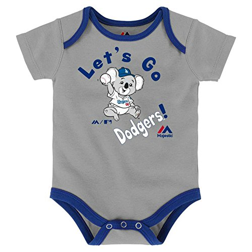 (Genuine Merchandise Los Angeles Dodgers Let's Go Dodgers Infant One Piece Size 3-6 Months Bodysuit Creeper Gray)