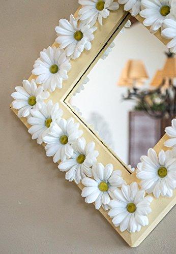 Silk Mirror (Floral Wall Mirror Sunshine Yellow Frame with White Silk Daisies 11.5 x 11.5)