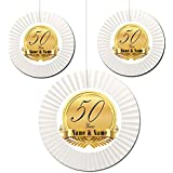 Partypro 50TH ANNIVERSARY CUSTOM FAN DECORATION (3 COUNT -1-16 INCH AND 2-12 INCH) by