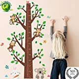 Height Measurement Growth Chart Tree Cute Monkey Wall Self Adhesive, Durable, Non Toxic Vinyl Decal Removable for Nursery, Playroom, Bedroom 4.5H x 3W ft by Piazza Amalfi