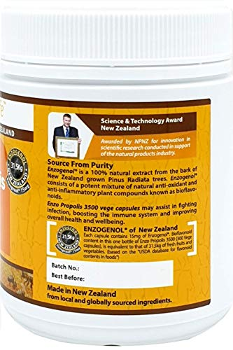 New-Zealand Bee Propolis 3500 300 Capsules Support a Healthy Immune System (1 Bottle) by EnzoLife (Image #2)