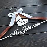 Custom Wedding Hanger, Personalized Bridal Hanger with Love, Wooden Wedding Hanger, Rustic Wedding Dress Hanger,Personalized Wedding Hanger