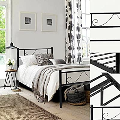 GreenForest Bed Frame Full Size Headboard Stable Metal Slats Boxspring Replacement Double Platform Mattress Base,Black