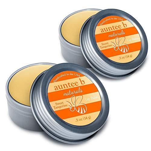 Auntee B Naturals Moisturizing Organic Lip Balm (Sweet Tangerine) - 2 Pack, 0.5 oz - All Natural, Non-Toxic, Gluten-Free
