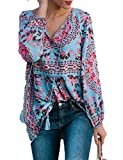 CILKOO Women Elegant Summer Floral Casual Loose Tshirt Blouse Tops Chiffon Blouse for Women Blue US12-14 Large