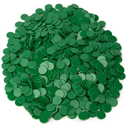1000-pack of Solid Opaque 3/4-inch Bingo Chips, Great for Classroom Counting and Math Activities by Royal Bingo Supplies (Green)