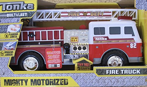 TONKA Mighty MOTORIZED FIRE TRUCK Engine w Flashing LIGHTS, Realistic SOUNDS & Working LADDER (2016 Hasbro) Prairie Fire Engine