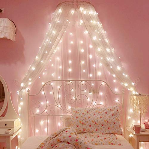 Bolylight Waterproof Curtain String Light 6.6 x 6.6ft 200 LED Starry Fairy Lights for Wedding Home Party Garden Bedroom Outdoor Indoor Wall Decorations (Warm White)