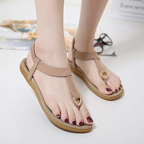 WINWINTOM Newest Women Sandals, Women Bohe Rhinestone Fashion Flat Large Size Casual Sandals Beach Shoes Pink