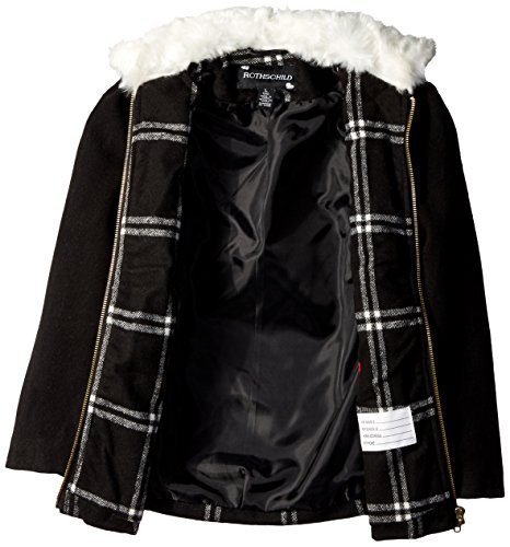 Girls' Rothschild Fur Collar Little Coat Black with Faux Wool Windowpane RR5nrq