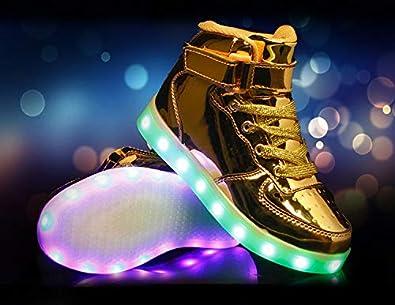 LED Chaussures Unisexe 7 Couleurs LED Lumi/ère Sneakers USB Rechargeable Chaussures Multisports Outdoor Baskets pour Gar/çon et Fille