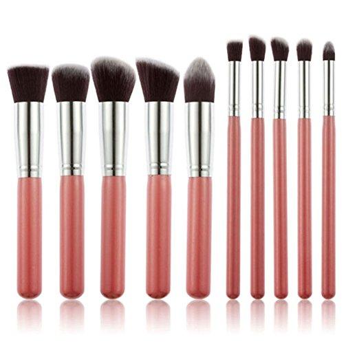 10 Piece Makeup Brushes Set Blending Cosmetics Make Up Tool