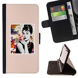 """For Sony Xperia Z5 (5.2 Inch) / Xperia Z5 Dual (Not for Z5 Premium 5.5 Inch),S-type Posters Estrella de cine de Hollywood Actriz"""" - Dibujo PU billetera de cuero Funda Case Caso de la piel de la bolsa protectora"""