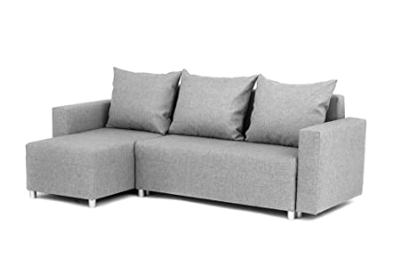 Oslo Corner Sofa Bed With Underneath Storage In Grey Linen Fabric   Left