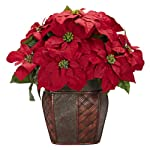 Nearly-Natural-1264-Poinsettia-with-Decorative-Vase-Silk-Flower-Arrangement-Red